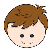 Cute Boy cartoon face vector — Stock Vector