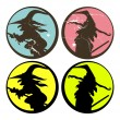 Set of Halloween witch silhouettes vector — Stock Vector
