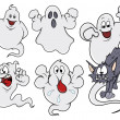 Set of cartoon ghosts vector illustration — 图库矢量图片