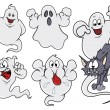 Set of cartoon ghosts vector illustration — Stock Vector