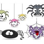 Set of cute funny cartoon spiders vectors — Stock Vector #32522857