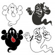 Set of funny cartoon ghosts vector — Vector de stock