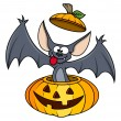 Stock Vector: Cute funny bat in pumpkin - halloween vector illustration