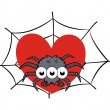 Stock Vector: Spider on web showing heart - - Halloween vector illustration