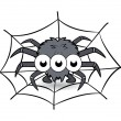 Spider in its web cartoon - Halloween vector illustration — Stock Vector