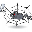 Spider waiting on web for bee - halloween vector illustration — Imagen vectorial