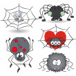 Set of cartoon funny spiders vector illustrations — Stock Vector #32525135