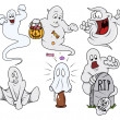 Set of cartoon funny ghosts vector — Stockvektor