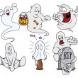 Set of cartoon funny ghosts vector — ストックベクタ