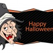Happy halloween banner - witch vector illustration — Stock Vector