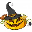 Jack o' lantern with hat - halloween vector illustration — Stock Vector