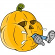 Jack o' lantern grabbed a man - funny vector - halloween vector illustration — Stock Vector