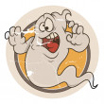 Panicky scared cartoon ghost - halloween vector illustration — Stock Vector #32526499