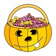 Jack o' lantern  container full of candies - halloween vector illustration — Stock Vector