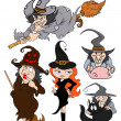 Hallween witches vector set — Stock Vector