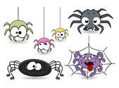 Set of cute funny cartoon spiders vectors — Stock Vector