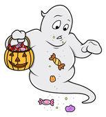 Fantôme mignon drôle, transportant des bonbons - illustration vectorielle halloween — Vecteur