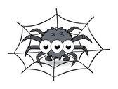 Spider in its web cartoon - Halloween vector illustration — Stock Vector