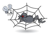 Spider waiting on web for bee - halloween vector illustration — Stock Vector