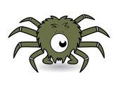 One eye funny spider cartoon vector — Stock Vector