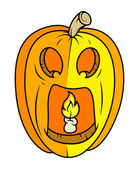 Horrible jack o' lantern - halloween vector illustration — Stock Vector