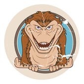 Scary gorilla monster vector in vintage style sticker — Stock Vector
