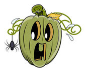 Fearful jack o' lantern by a tiny spider - halloween vector illustration — Stock Vector