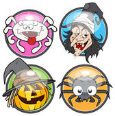 Halloween glossy vector stickers — Stock Vector