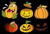 Pumpkins and jack o' lantern vector set — Stock Vector