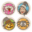 Grunge vector halloween stickers — Stock Vector
