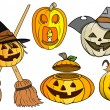 Jack o' lantern and pumpkin vectors set — Stock Vector