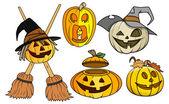 Jack o' lantern and pumpkin vectors set — Vector de stock