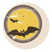 Bats flying vector - vintage — Stock Vector