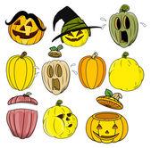 Cartoon pumpkin and jack o' lantern vectors — Stock Vector