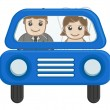Newly Weds Couple Going in Car - Cartoon Vector — Stock Vector
