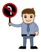 Man Showing - No Turn Sign Vector — Stock Vector