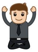 Yoga Practicing - Happy Man Vector — Stock Vector
