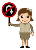 No U Turn Sign Board - Cartoon Vector — Stock Vector