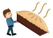 Man Dragging a Large Pan Cake - Cartoon Vector — Stock Vector