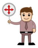 Man Showing Crossed Arrows Sign — Stock Vector