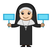Nun Holding Two Banners Vector — Stock Vector
