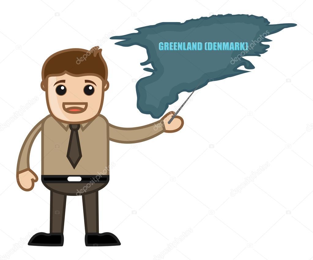卡通商人在办公室会议矢量插图显示格陵兰岛地图— vector by baavli