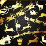 Golden Christmas Reindeers with Santa — Stock Vector #7899811