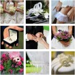 Collage of nine wedding color photos — Stock Photo
