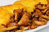 Potatoes pancake with mushrooms — Stock Photo