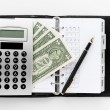 Pocket planner with pen and money — Stock Photo