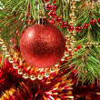 Christmas ball on a Christmas tree — Stock Photo