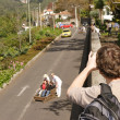 Madeira: Monte toboggan ride — Stock Photo