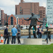 Stock Photo: Liverpool, Billy Fury statue close to Albert dock