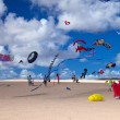 FUERTEVENTURA, SPAIN - NOVEMBER 09: Schoolkids fly little pink k — Foto Stock